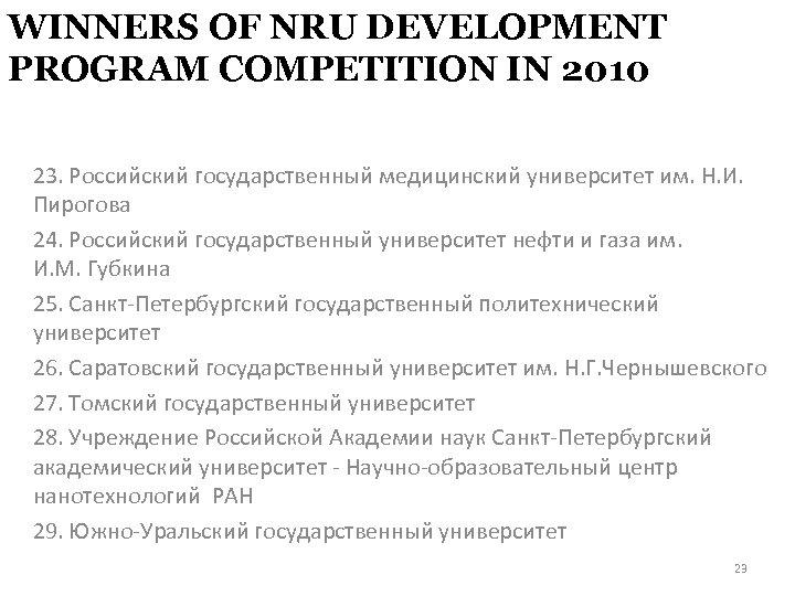 WINNERS OF NRU DEVELOPMENT PROGRAM COMPETITION IN 2010 23. Российский государственный медицинский университет им.