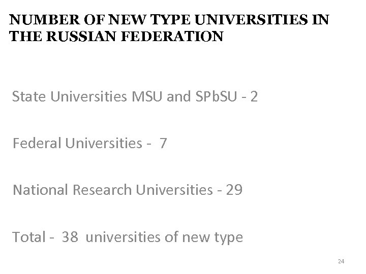NUMBER OF NEW TYPE UNIVERSITIES IN THE RUSSIAN FEDERATION State Universities MSU and SPb.