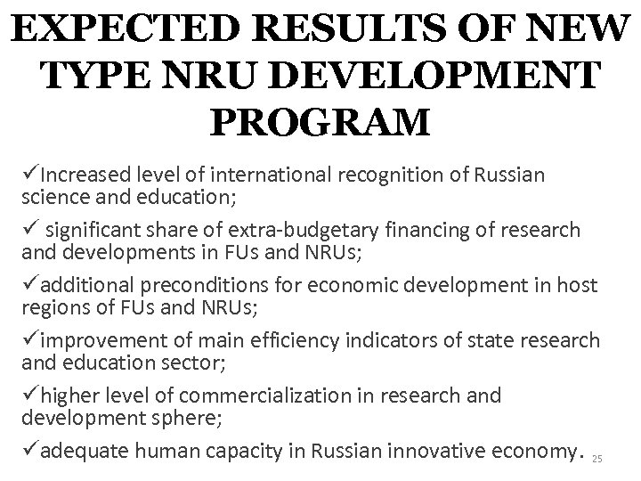 EXPECTED RESULTS OF NEW TYPE NRU DEVELOPMENT PROGRAM üIncreased level of international recognition of