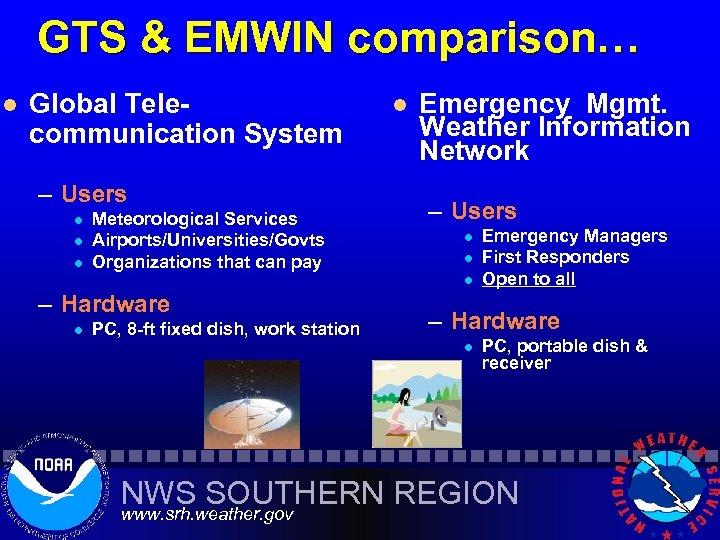 GTS & EMWIN comparison… l Global Telecommunication System – Users l l l Meteorological