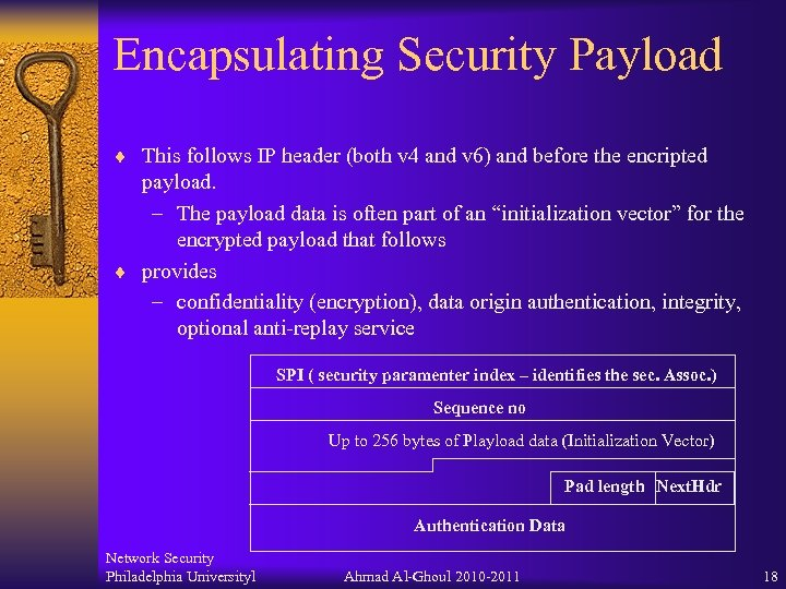 Encapsulating Security Payload ¨ This follows IP header (both v 4 and v 6)
