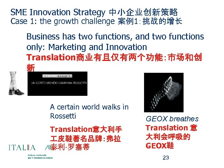 SME Innovation Strategy 中小企业创新策略 Case 1: the growth challenge 案例1:挑战的增长 Business has two functions,