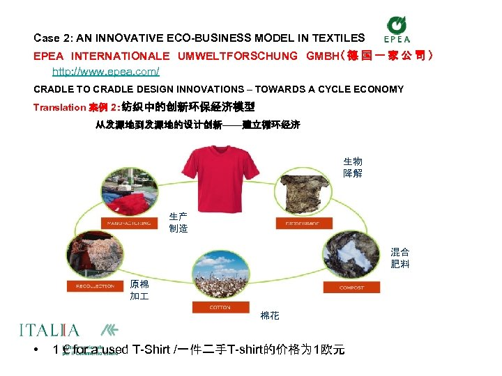 Case 2: AN INNOVATIVE ECO-BUSINESS MODEL IN TEXTILES EPEA INTERNATIONALE UMWELTFORSCHUNG GMBH( 德 国