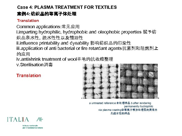 Case 4: PLASMA TREATMENT FOR TEXTILES 案例4:纺织品的等离子体处理 Translation Common applications: 常见应用 i. imparting hydrophilic,