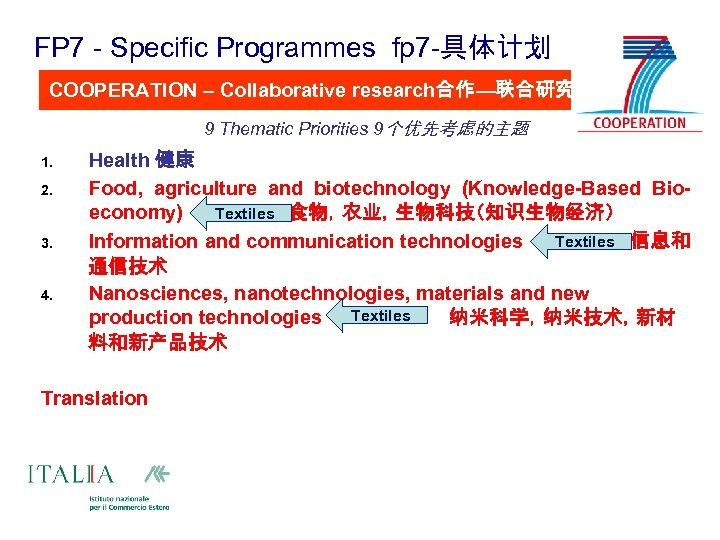 FP 7 - Specific Programmes fp 7 -具体计划 COOPERATION – Collaborative research合作—联合研究 9 Thematic
