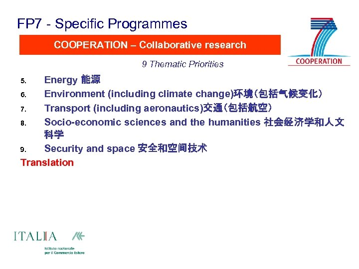 FP 7 - Specific Programmes COOPERATION – Collaborative research 9 Thematic Priorities Energy 能源