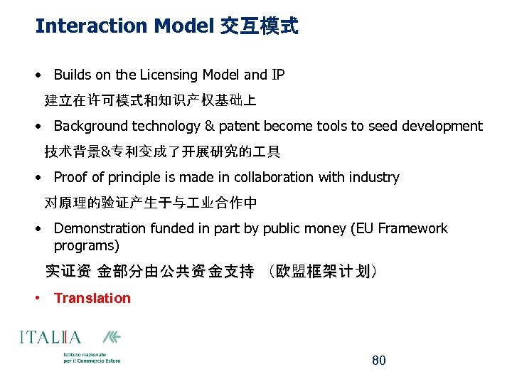 Interaction Model 交互模式 • Builds on the Licensing Model and IP 建立在许可模式和知识产权基础上 • Background