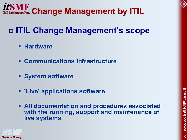 Change Management by ITIL q ITIL Change Management's scope § Hardware § Communications infrastructure