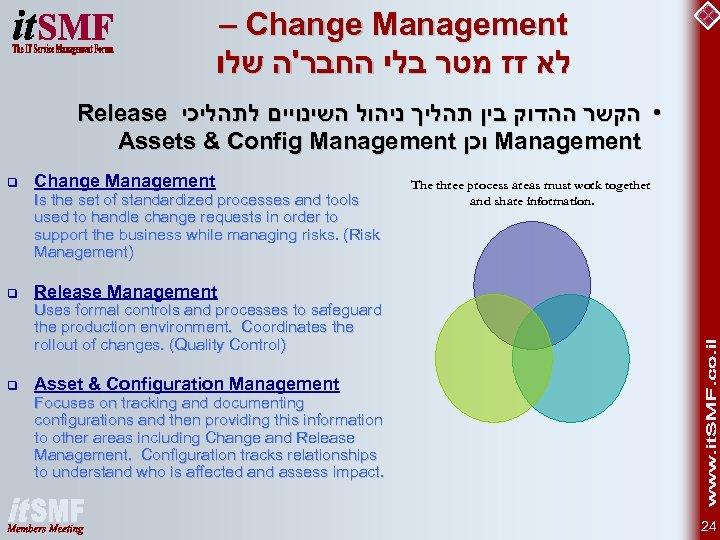 – Change Management לא זז מטר בלי החבר'ה שלו Release • הקשר ההדוק
