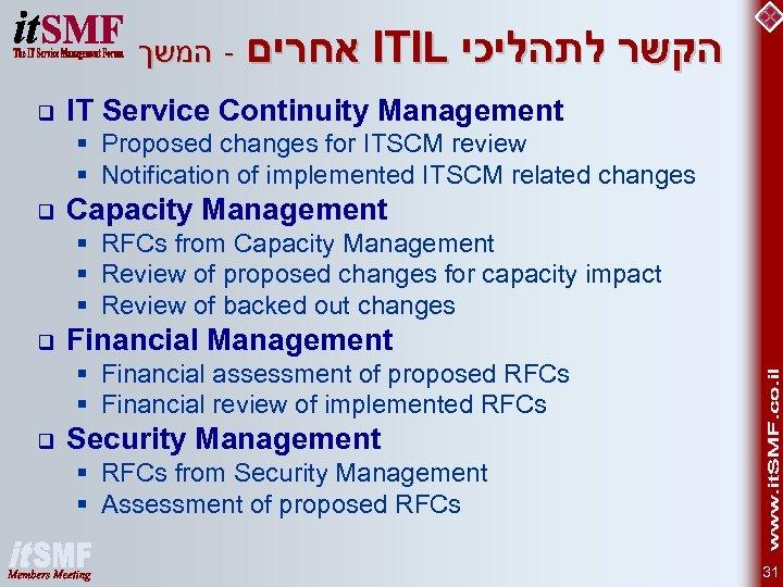אחרים - המשך ITIL הקשר לתהליכי q IT Service Continuity Management § Proposed