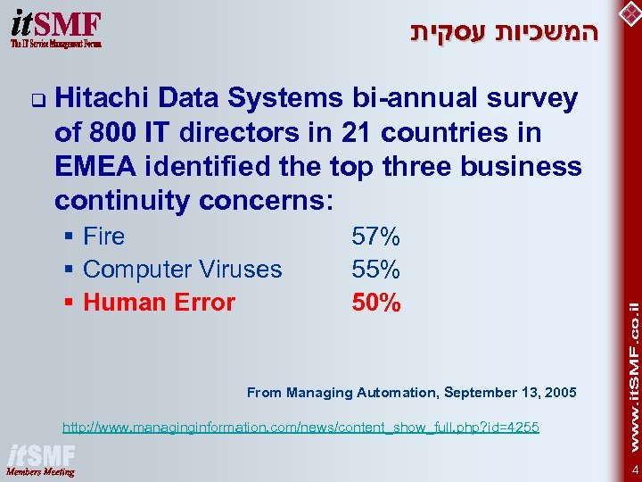 המשכיות עסקית q Hitachi Data Systems bi-annual survey of 800 IT directors in
