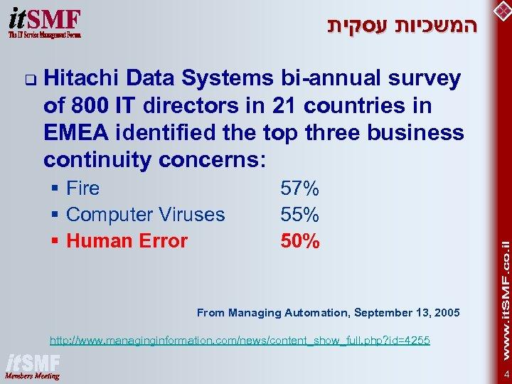 המשכיות עסקית q Hitachi Data Systems bi-annual survey of 800 IT directors in