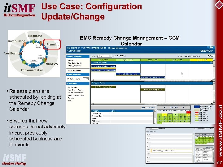 Use Case: Configuration Update/Change Requests Compliance Planning BMC Remedy Change Management – CCM Calendar