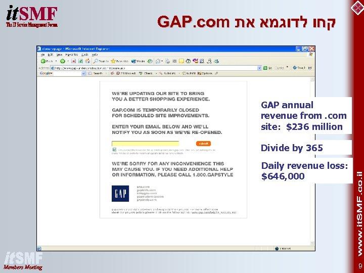 GAP. com קחו לדוגמא את GAP annual revenue from. com site: $236 million Divide
