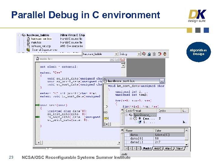 Parallel Debug in C environment Algorithm Design 23 NCSA/OSC Reconfigurable Systems Summer Institute