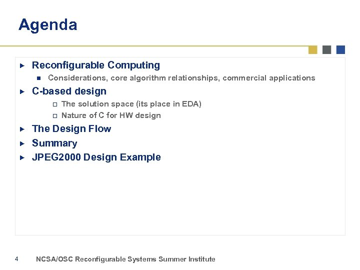 Agenda Reconfigurable Computing n Considerations, core algorithm relationships, commercial applications C-based design o o