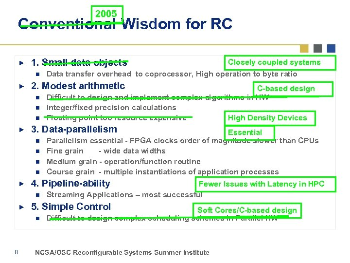 2005 Conventional Wisdom for RC 1. Small data objects n 2. Modest arithmetic n