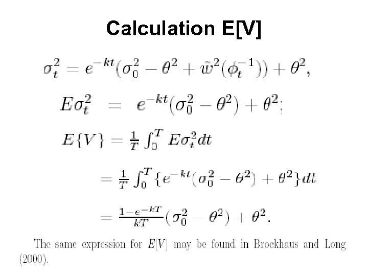 Calculation E[V]