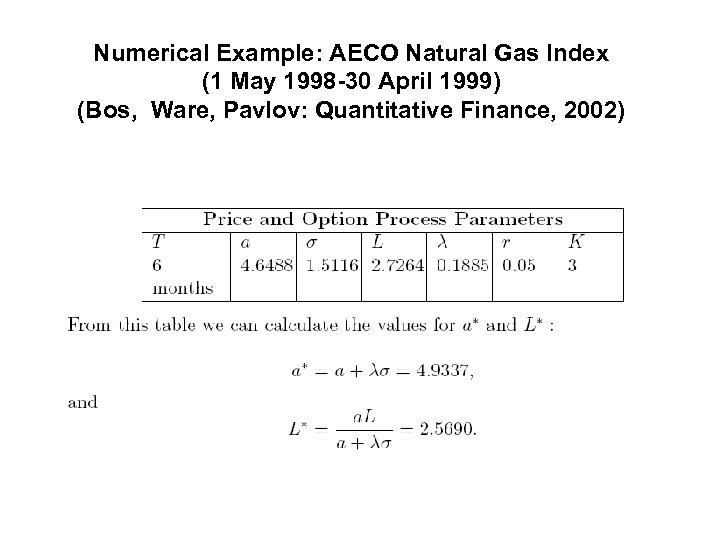 Numerical Example: AECO Natural Gas Index (1 May 1998 -30 April 1999) (Bos, Ware,