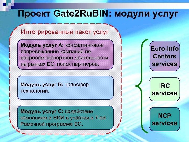 Проект Gate 2 Ru. BIN: модули услуг Интегрированный пакет услуг Модуль услуг А: консалтинговое