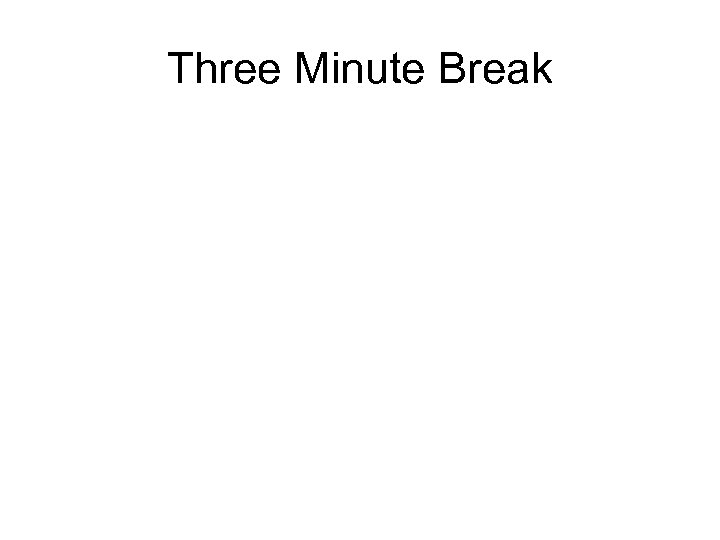 Three Minute Break