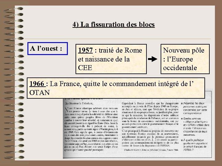 4) La fissuration des blocs A l'ouest : 1957 : traité de Rome et