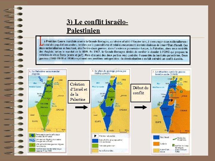 3) Le conflit israélo. Palestinien Création d'Israël et de la Palestine Début du conflit