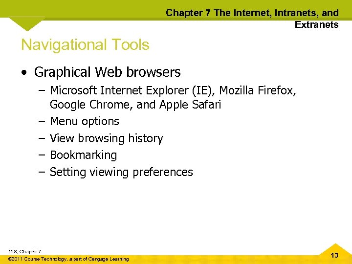 Chapter 7 The Internet, Intranets, and Extranets Navigational Tools • Graphical Web browsers –