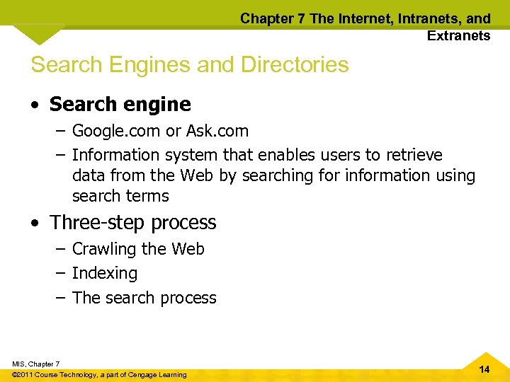 Chapter 7 The Internet, Intranets, and Extranets Search Engines and Directories • Search engine