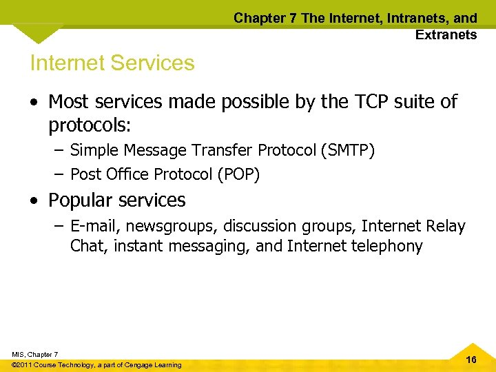 Chapter 7 The Internet, Intranets, and Extranets Internet Services • Most services made possible