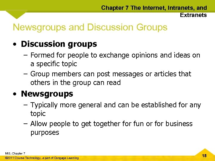 Chapter 7 The Internet, Intranets, and Extranets Newsgroups and Discussion Groups • Discussion groups