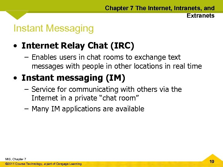 Chapter 7 The Internet, Intranets, and Extranets Instant Messaging • Internet Relay Chat (IRC)