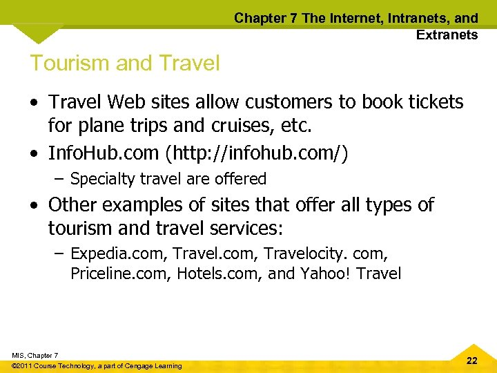 Chapter 7 The Internet, Intranets, and Extranets Tourism and Travel • Travel Web sites