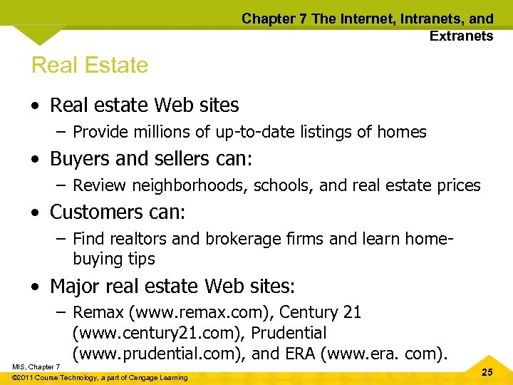 Chapter 7 The Internet, Intranets, and Extranets Real Estate • Real estate Web sites