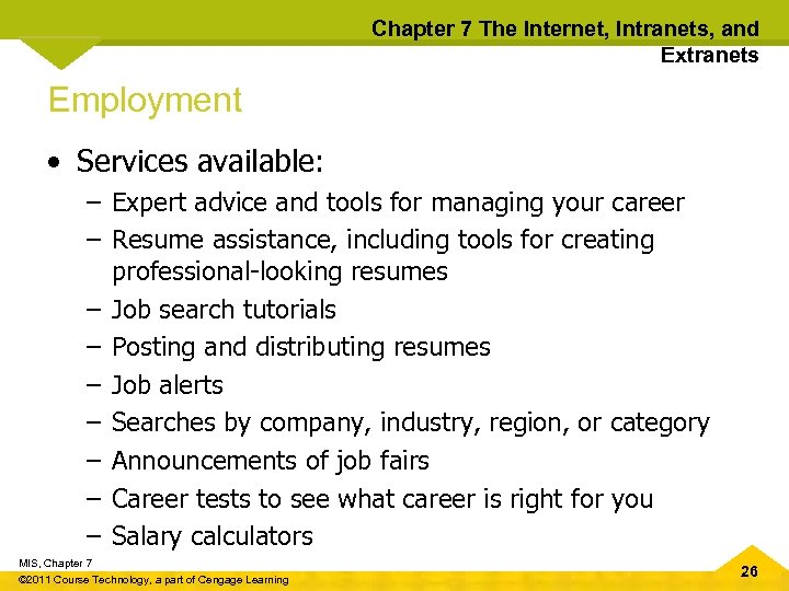 Chapter 7 The Internet, Intranets, and Extranets Employment • Services available: – Expert advice