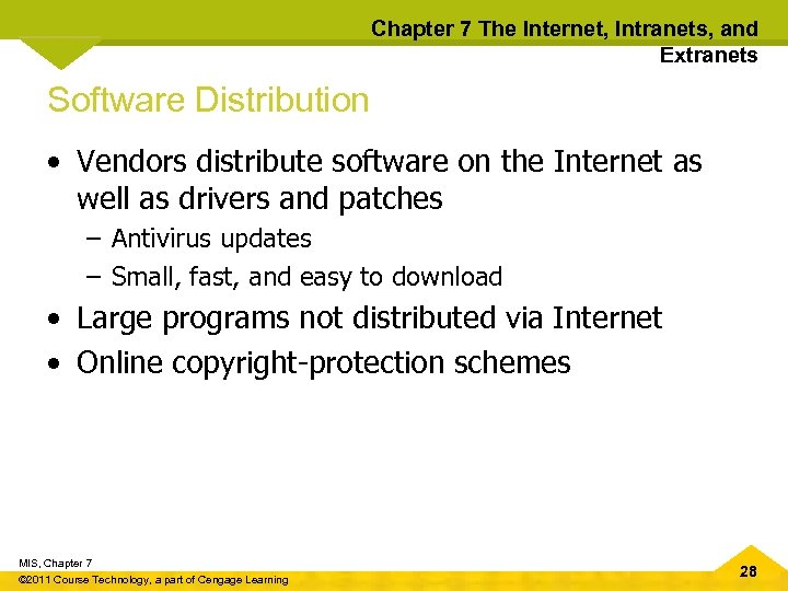 Chapter 7 The Internet, Intranets, and Extranets Software Distribution • Vendors distribute software on