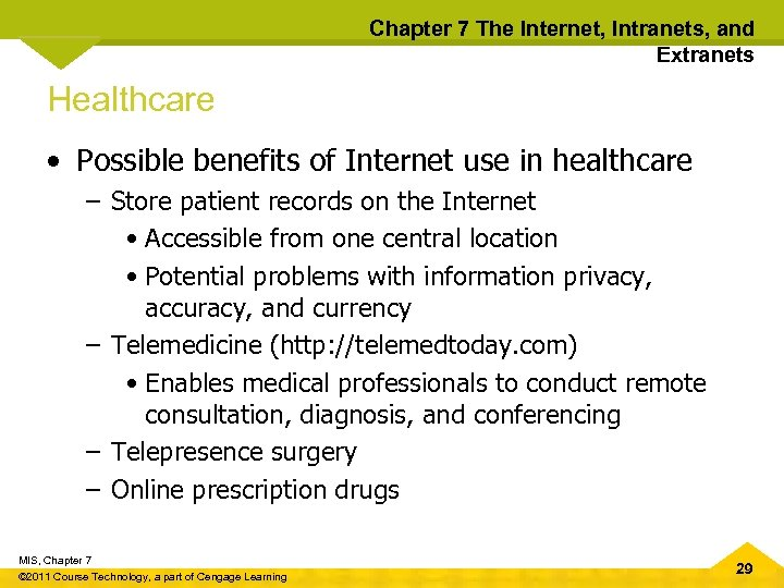 Chapter 7 The Internet, Intranets, and Extranets Healthcare • Possible benefits of Internet use