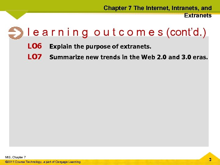 Chapter 7 The Internet, Intranets, and Extranets l e a r n i n