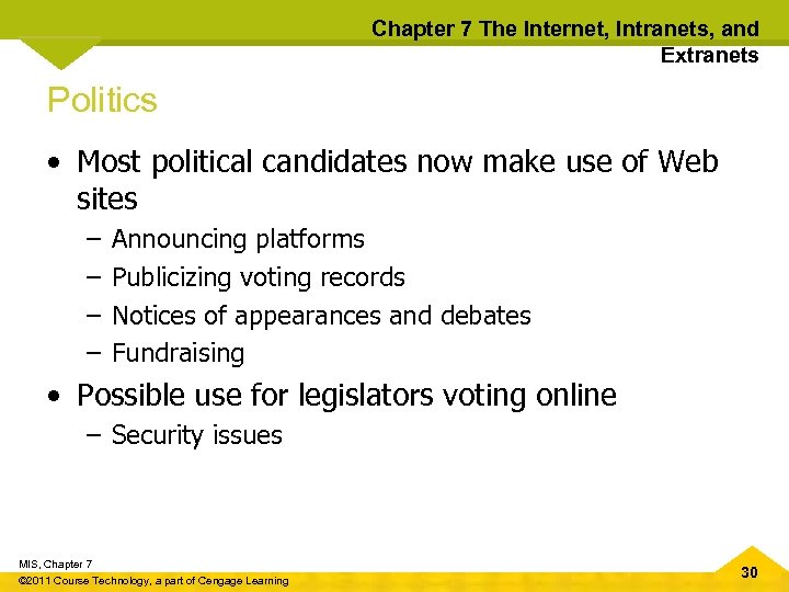 Chapter 7 The Internet, Intranets, and Extranets Politics • Most political candidates now make