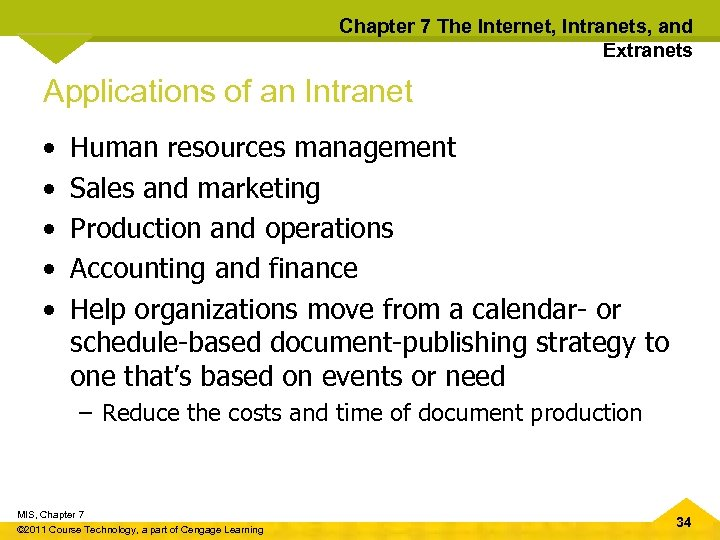 Chapter 7 The Internet, Intranets, and Extranets Applications of an Intranet • • •