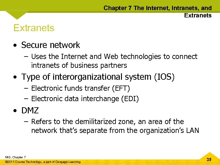 Chapter 7 The Internet, Intranets, and Extranets • Secure network – Uses the Internet