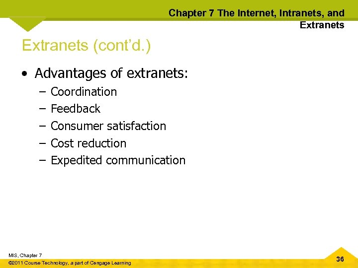 Chapter 7 The Internet, Intranets, and Extranets (cont'd. ) • Advantages of extranets: –