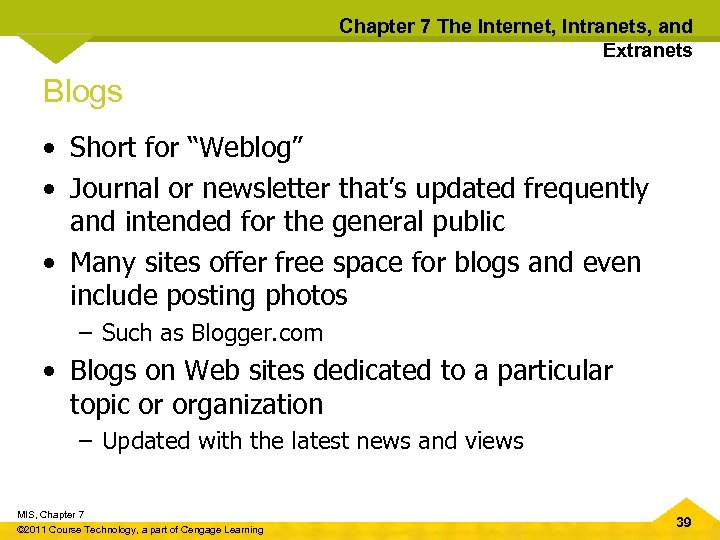 """Chapter 7 The Internet, Intranets, and Extranets Blogs • Short for """"Weblog"""" • Journal"""