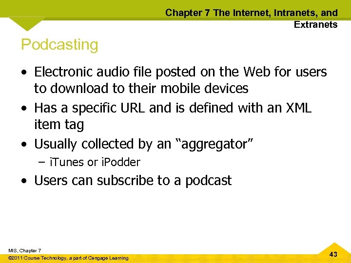 Chapter 7 The Internet, Intranets, and Extranets Podcasting • Electronic audio file posted on