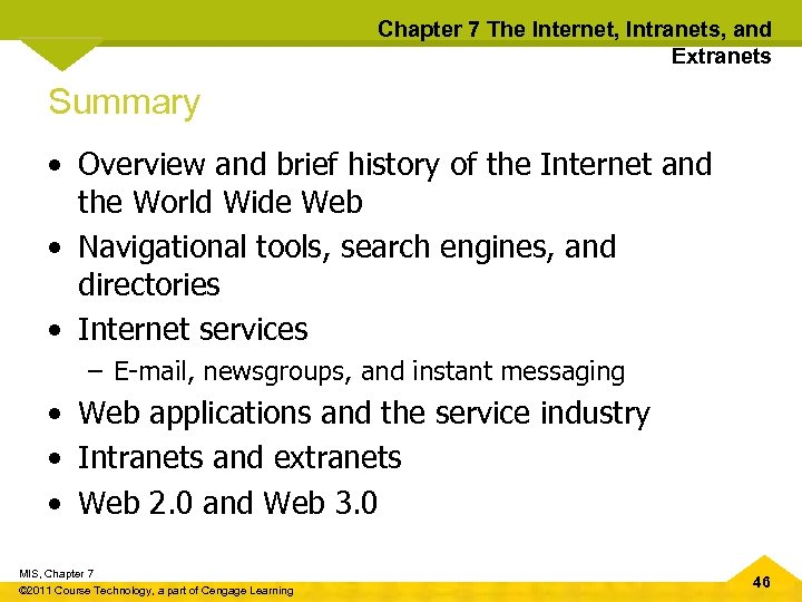 Chapter 7 The Internet, Intranets, and Extranets Summary • Overview and brief history of