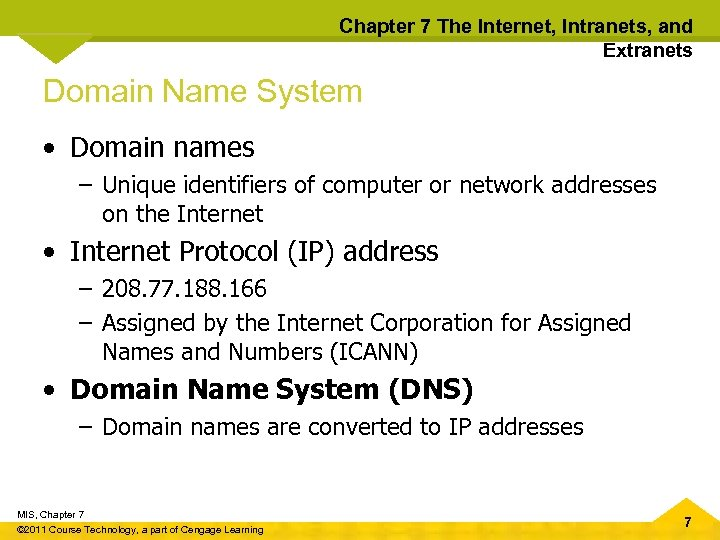Chapter 7 The Internet, Intranets, and Extranets Domain Name System • Domain names –