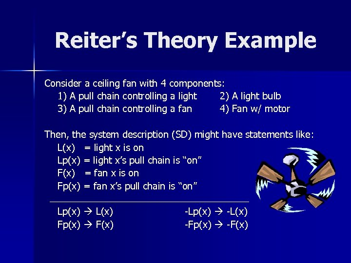 Reiter's Theory Example Consider a ceiling fan with 4 components: 1) A pull chain