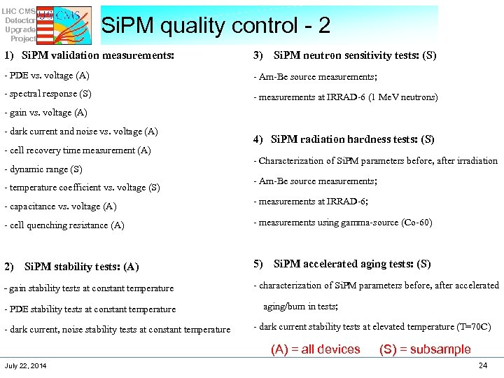 LHC CMS Detector Upgrade Project Si. PM quality control - 2 1) Si. PM