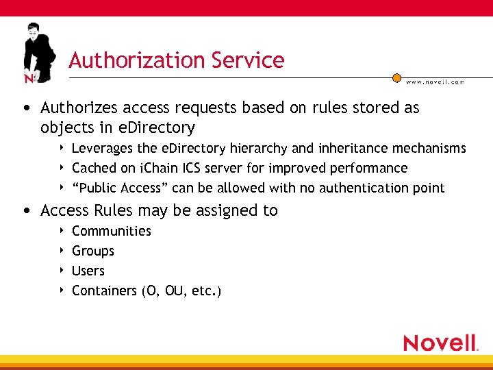 Authorization Service • Authorizes access requests based on rules stored as objects in e.