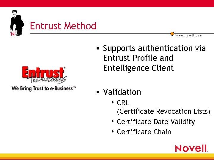 Entrust Method • Supports authentication via Entrust Profile and Entelligence Client • Validation 4
